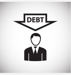 businessman with debt on white background vector image