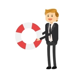 Businessman with life preserver icon vector