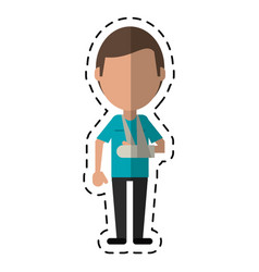 cartoon people patient broken arm vector image