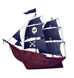 cartoon pirate ship boat with black sails vector image