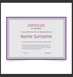 certificate template with purple borders vector image