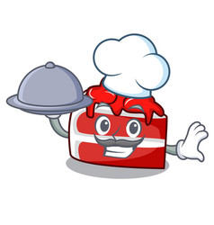 chef with food red velvet mascot cartoon vector image