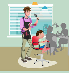 child getting a haircut at hairdresser vector image