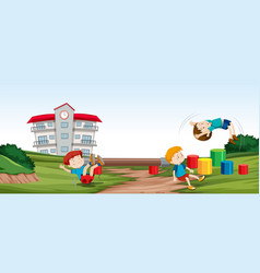 children playing infront of vector image