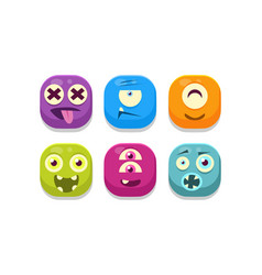 collection bright buttons emoticons vector image