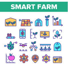 Color smart farm elements icons set vector