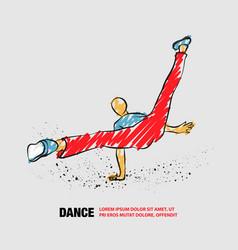 Cool street dancer outline break dance vector