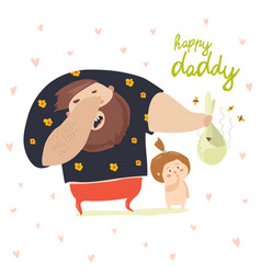 Dad changing diaper baby vector