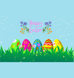 decorative easter eggs on green grass cartoon vector image