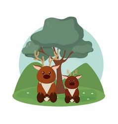 Deers family cute animals cartoons vector