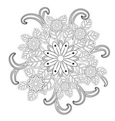 doodle art flowers zentangle floral pattern vector image