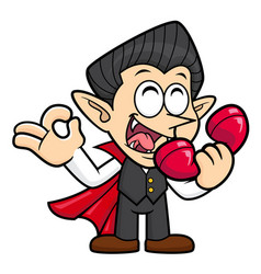 Dracula character is a phone and an okay gesture vector