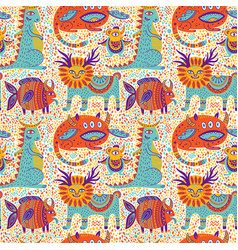 fantastic animals seamless pattern vector image