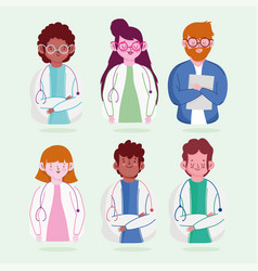Female and male physician professional staff vector