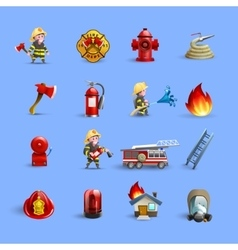 Firefighters Cartoon Icons Red Blue Set vector image