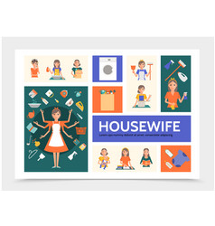 flat housewife infographic template vector image