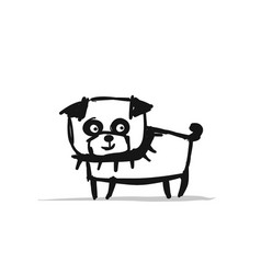 funny pug dog sketch for your design vector image