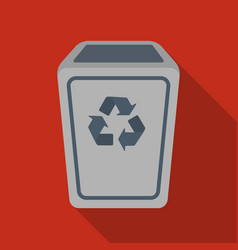 Garbage can icon in flate style isolated on white vector