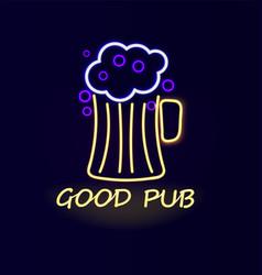 Good pub beer neon sign poster vector