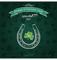 Green card for St Patricks Day with horseshoe vector