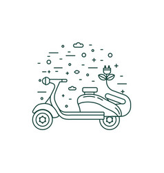 green electric scooter with charger line icon vector image