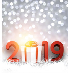 grey bokeh 2019 new year background with gift box vector image