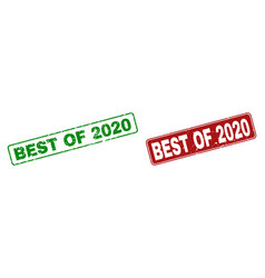 grunge best of 2020 stamps with rounded rectangle vector image