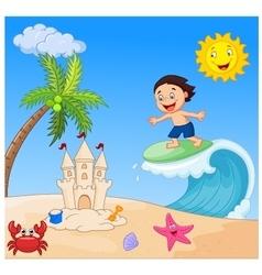 Happy boy cartoon surfing vector image