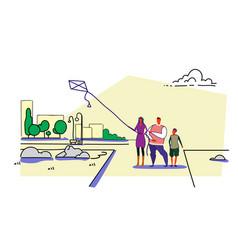 happy family launching kite city urban park vector image