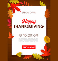 Happy thanksgiving sale poster special offer vector