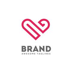 Heart lines logo concept vector