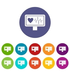 Heartbeat set icons vector image