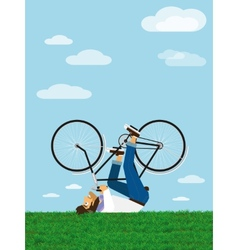 Hipster rides a bicycle in the sky vector image