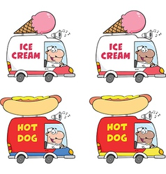 Ice cream and hot dog truck cartoon vector image