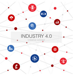 Industry 40 trendy web template with simple icons vector