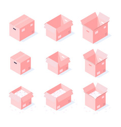 isometric cardboard boxes collection vector image