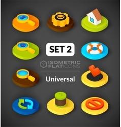 Isometric flat icons set 2 vector image