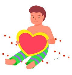 kid holding heart toy child taking photo photozone vector image