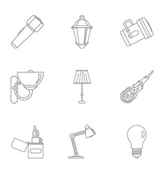 Light source icon set outline style vector