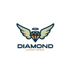 logo flying diamond simple mascot style vector image