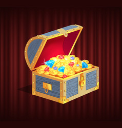 loot box with gemstone brilliant and coin vector image