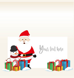 lovely christmas snowman and santa clause vector image