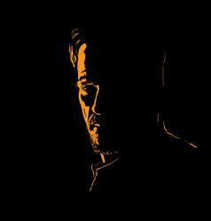 Man portrait silhouette in backlight contrast vector