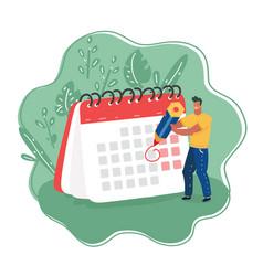 Man with pencil and calendar vector