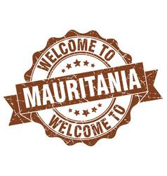 mauritania round ribbon seal vector image