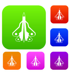 military fighter plane set collection vector image