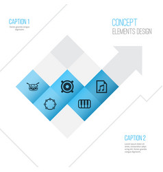 Music icons set collection of timbrel barrel vector