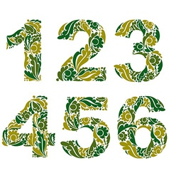 Numeration decorated with seasonal green leaves 1 vector