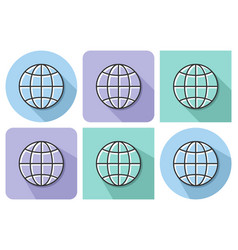 outlined icon of globe with parallel and not vector image