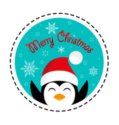 penguin in santa hat merry christmas vector image